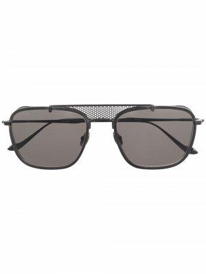 Солнцезащитные очки-авиаторы со вставкой Matsuda. Цвет: черный