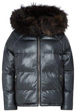 Утепленная кожаная куртка с отделкой мехом енота La Reine Blanche