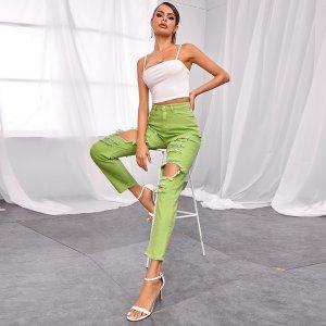 Рваные прямые джинсы SHEIN. Цвет: зеленый лайм