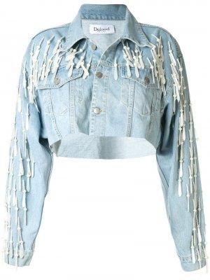 Джинсовая куртка с бусинами Dalood. Цвет: синий