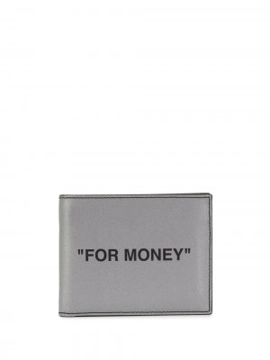 Складной бумажник с принтом Off-White. Цвет: серебристый
