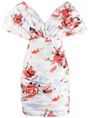 Платье с открытыми плечами и цветочным принтом Philosophy Di Lorenzo Serafini. Цвет: белый