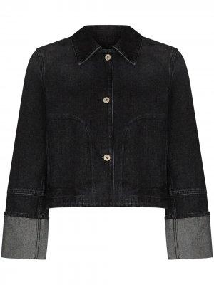 Turn-up cuff cropped denim jacket LOEWE. Цвет: черный