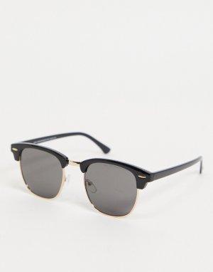 Квадратные солнцезащитные очки в черной ретро-оправе -Черный цвет New Look