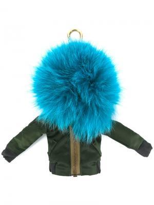 Брелок в виде куртки-бомбер с помпоном Mr & Mrs Italy. Цвет: зеленый