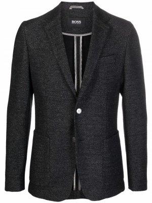 Однобортный пиджак с заостренными лацканами BOSS. Цвет: серый