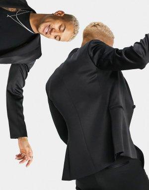 Черный блестящий пиджак-смокинг зауженного кроя -Черный цвет ASOS DESIGN