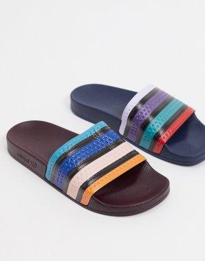 Непарные шлепанцы с разноцветными полосами -Мульти adidas Originals