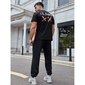 Мужской двухцветный буква Футболка & Спортивные брюки SHEIN. Цвет: многоцветный