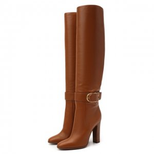 Кожаные ботфорты Caroline Dolce & Gabbana. Цвет: коричневый