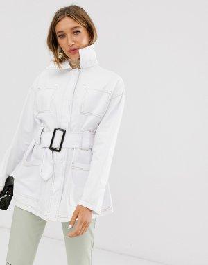 Жакет в стиле милитари с поясом -Белый ASOS DESIGN