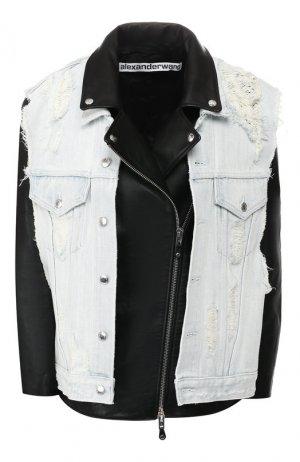 Кожаная куртка Alexander Wang. Цвет: черный