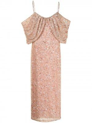 Платье с открытыми плечами и пайетками Badgley Mischka. Цвет: розовый