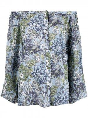 Блузка с цветочным принтом Gold Hawk. Цвет: синий