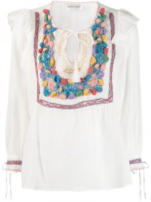 Блузка со вставкой в технике кроше Antik Batik. Цвет: белый