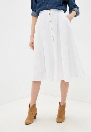 Юбка джинсовая Forte. Цвет: белый