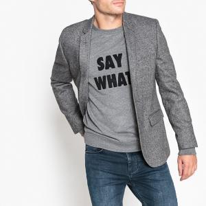 Пиджак костюмный покроя слим из смесового шерстяного материала LA REDOUTE COLLECTIONS. Цвет: серый