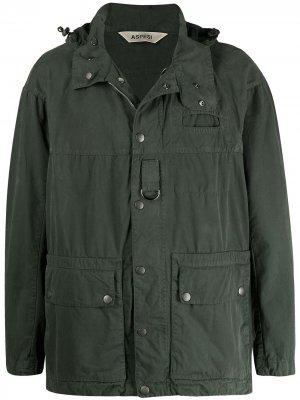 Куртка на пуговицах с капюшоном Aspesi. Цвет: зеленый