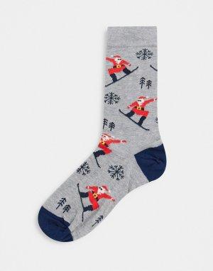 Высокие носки с Санта Клаусом на сноуборде -Серый ASOS DESIGN