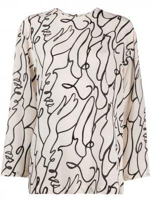 Блузка с абстрактным принтом Alysi. Цвет: нейтральные цвета