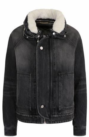 Джинсовая куртка с потертостями и меховой отделкой Saint Laurent. Цвет: темно-серый