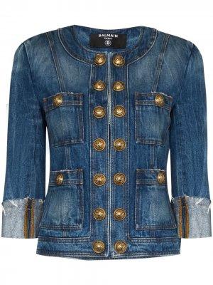 Джинсовая куртка с подплечниками Balmain. Цвет: синий