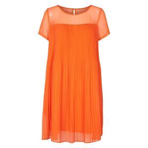 Платье струящееся расклешенное плиссированное с короткими рукавами NUMPH. Цвет: оранжевый
