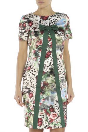 Платье Adzhedo. Цвет: зеленый, лео, цветы
