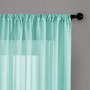 Простая прозрачная штора 1шт SHEIN. Цвет: мятно-зеленый