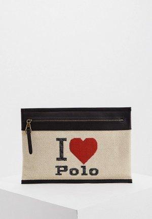 Клатч Polo Ralph Lauren. Цвет: бежевый