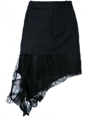 Асимметричная юбка с кружевным подолом A.F.Vandevorst. Цвет: черный