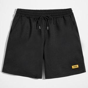 Мужской Спортивные шорты с текстовой заплатой на кулиске SHEIN. Цвет: чёрный