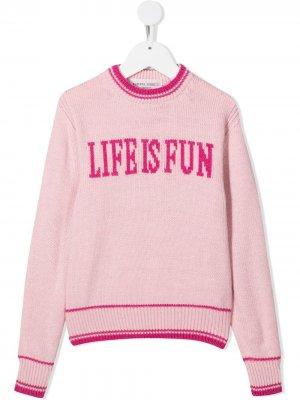 Джемпер Life Is Fun вязки интарсия Alberta Ferretti Kids. Цвет: розовый