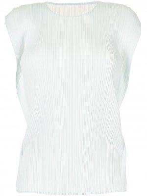 Плиссированная блузка без рукавов Pleats Please Issey Miyake. Цвет: синий