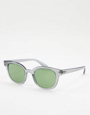 Солнцезащитные очки в серой круглой оправе стиле унисекс 0RB4324-Серый Ray-Ban