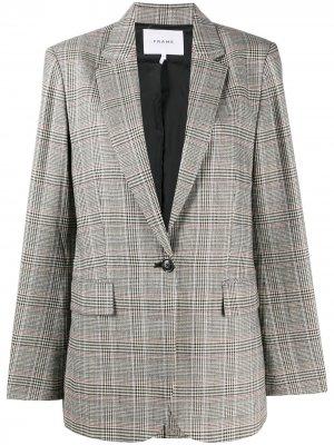 Однобортный пиджак в клетку FRAME. Цвет: коричневый
