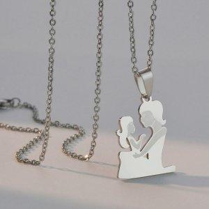 Ожерелье из нержавеющей стали с фигурой SHEIN. Цвет: серебряные