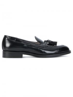 Лоферы с миндалевидным носком Alden. Цвет: чёрный