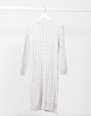 Белое вязаное платье миди -Белый I Saw It First