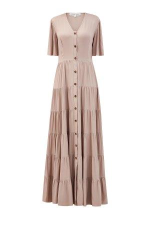 Струящееся платье-макси из шелковой ткани с многоярусным подолом ALEXANDER TEREKHOV. Цвет: бежевый