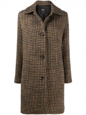 Однобортное пальто Woven Check A.P.C.. Цвет: нейтральные цвета