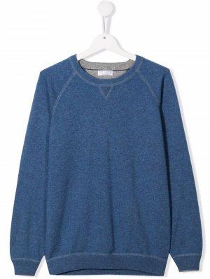 Пуловер с круглым вырезом Brunello Cucinelli Kids. Цвет: синий