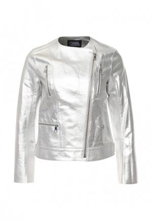 Куртка кожаная Karl Lagerfeld KA025EWOXV48. Цвет: серебряный