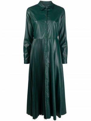 Платье-рубашка из искусственной кожи TWINSET. Цвет: зеленый