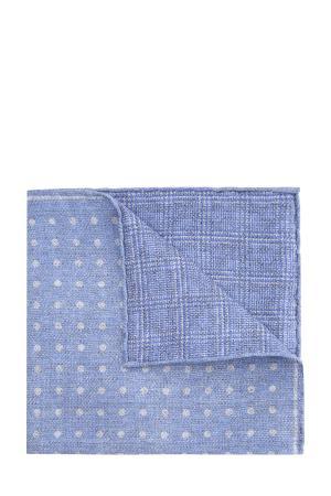 Шелковый платок-паше с отделкой ручной работы CANALI. Цвет: голубой