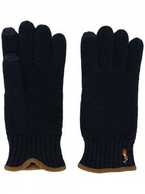 Перчатки для сенсорных экранов Polo Ralph Lauren. Цвет: синий