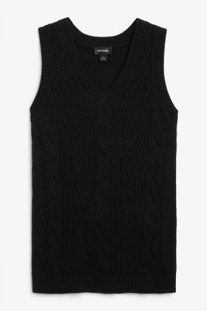 Вязаное платье-безрукавка мини Monki. Цвет: черный