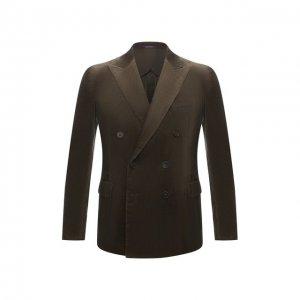 Хлопковый пиджак Ralph Lauren. Цвет: хаки