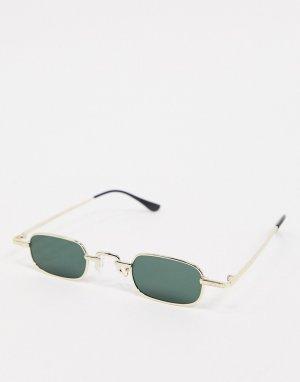 Золотистые квадратные солнцезащитные очки -Золотистый SVNX