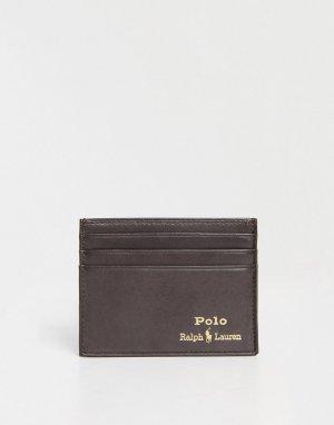Коричневая кожаная визитница с золотистым логотипом -Коричневый цвет Polo Ralph Lauren